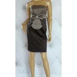Sukienka, zakładki, koronka, gipiura, beż, luxury, 42
