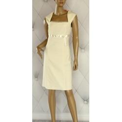 Sukienka z marynarka waniliowa z połyskiem 42