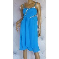Elegancka sukienka szyfonowa, chabrowa, kwiat, 36