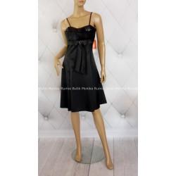 Sukienka mała czarna cekiny satyna broszka cudo