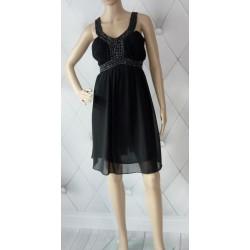 Szyfonowa sukienka kamienie szyfon czarna