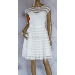 Biała sukienka przeźroczyste pasy