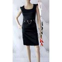 Klasyczna sukienka łańcuchy cyrkonie mała czarna
