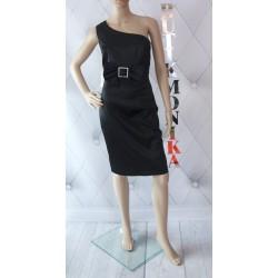 Elegancka asymetryczna sukienka kokarda klamra