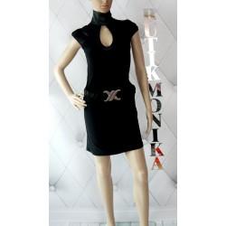 Ekskluzywna czarna sukienka wycięty dekolt