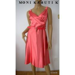 Zwiewna, szyfonowa sukienka, kwiaty, perły, 38