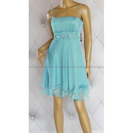 Zwiewna, szyfonowa sukienka, kwiaty, perły, 40