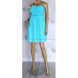Zwiewna, szyfonowa sukienka, kwiaty, falbanki, 38