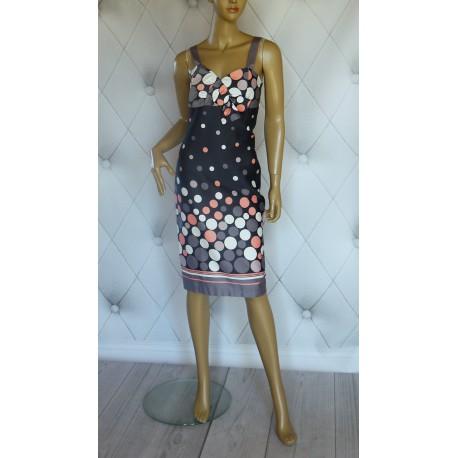 Elegancka sukienka szara kolorowe grochy 36/38