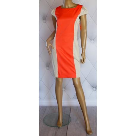 Klasyczna beżowa sukienka pomarańczowy pas