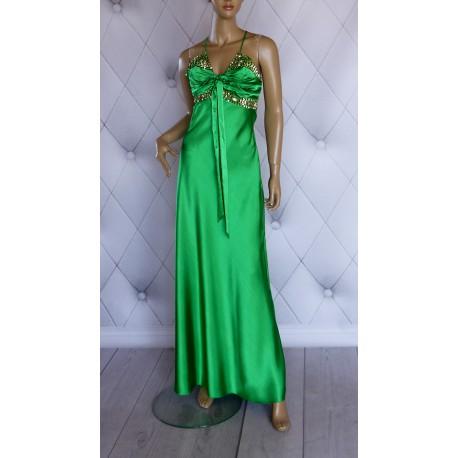 Ekskluzywna wieczorowa suknia zielona kamienie 38