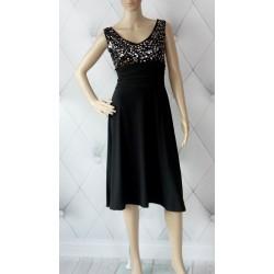 Elgancka czarna sukienka złoto srebrne cekiny 38