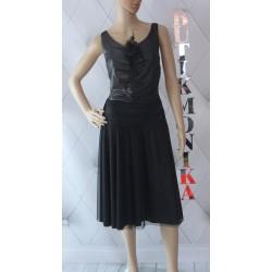Elegancka czarna sukienka retro tiul kwiat 40