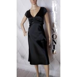 Elegancka sukienka, czarno-biała, kokardka, 42