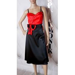 Ekskluzywna długa sukienka szyfon koronki cudo M