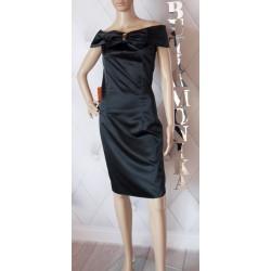 Elegancka sukienka kokarda odkryte ramiona czarna 36