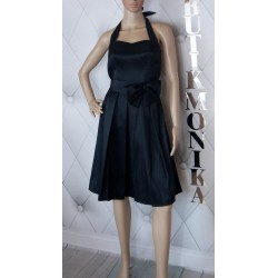Elegancka czarna sukienka tafta bombka kokarda 36