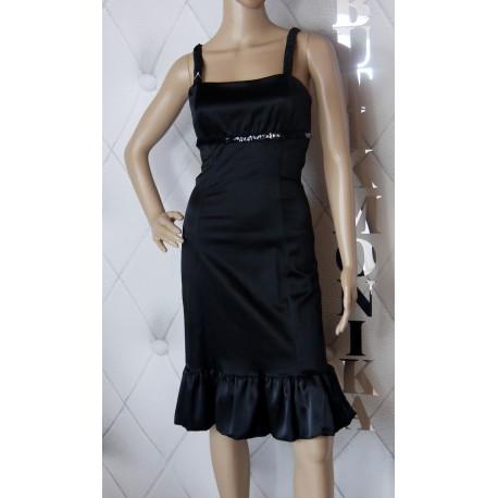 Czarna sukienka hiszpanka falbana cekiny 36 luxury