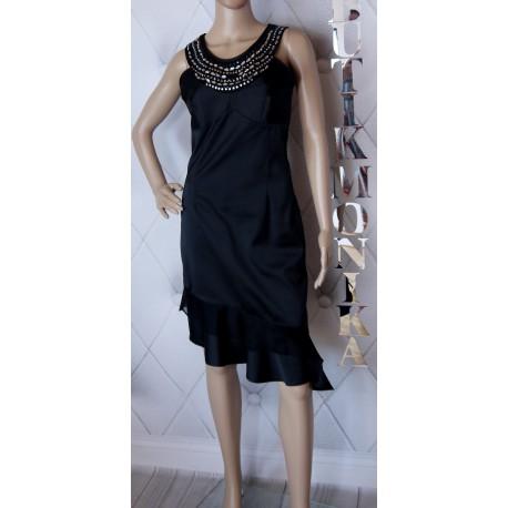 Elgancka czarno srebrna sukienka satyna kokarda