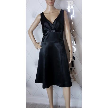 Elegancka czarna sukienka satyna kokardka lux 42