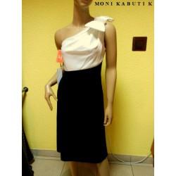 Czarno biała asymetryczna sukienka kokarda cyrkoni