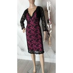 Ekskluzywna sukienka koronki różowa bolerko 38