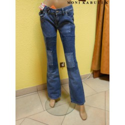 Niebieskie jeansy patchworkowe hit patchwork 38